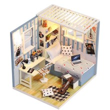 Wooden DIY House Handmade Assembled Dollhouse Cottage Model Childrens Toy(China)
