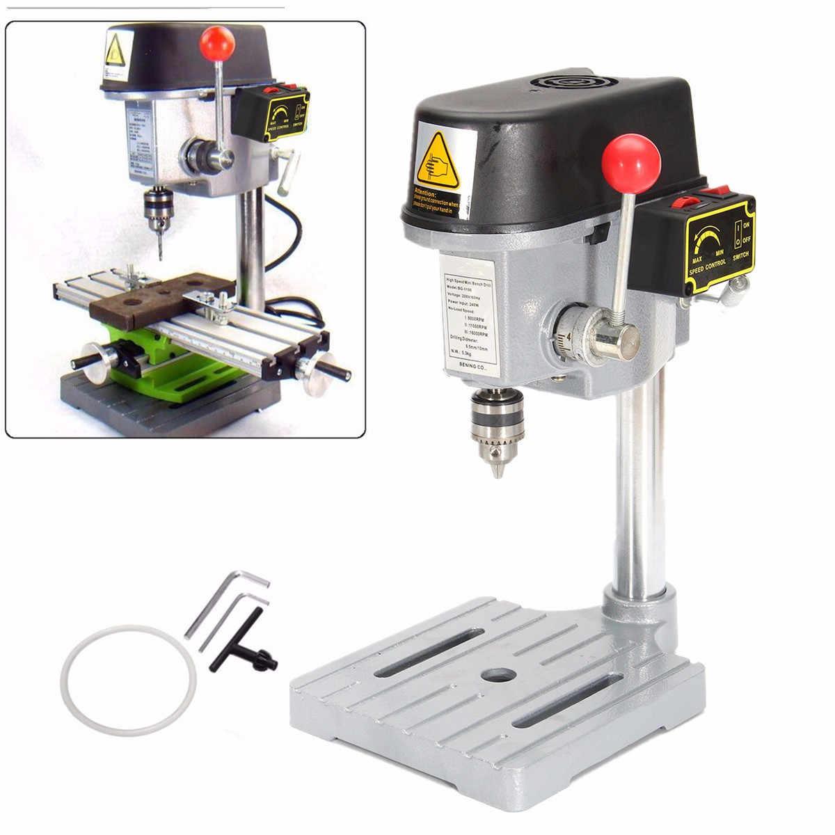 Mini imprensa de broca 240 w para o mandril de perfuração de velocidade variável da máquina de perfuração do banco 0.6-6.5mm para ferramentas elétricas de madeira do metal de diy