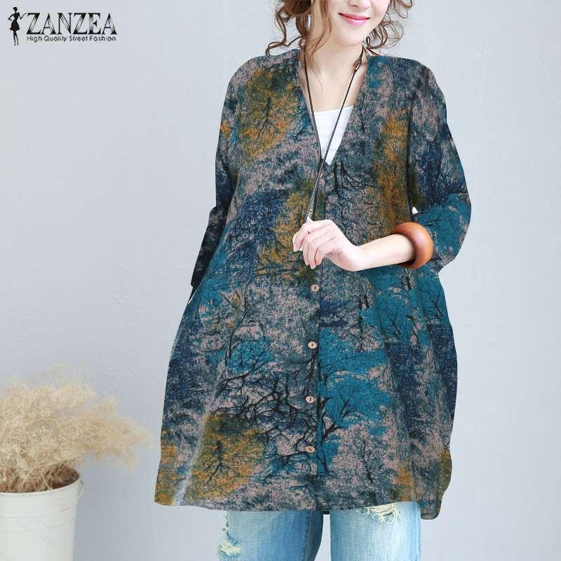 Top Blusas ZANZEA Women Bohemian Printed Blouse 2019 Spring Ladies Vintage Casual Loose Shirt Beach Long Tops Cardigan Plus Size