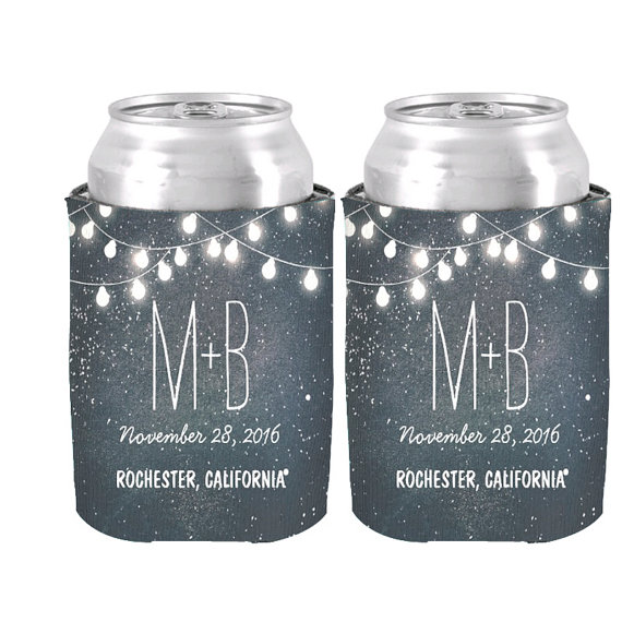 Personalized String Of Lights Night Stars Can Cooler Wedding Decor Favor Beverage Insulator Neoprne Beer Fashion Dad Gift In Wine Coolers Chillers