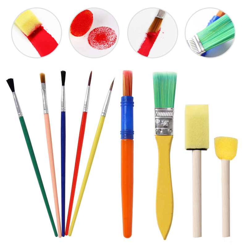 9Pcs/Set Multifunction Full Painting Set Children DIY Drawing Graffiti Sponge Pen Palette For Student School Office Art Supplies