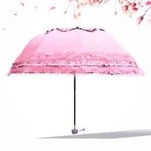 Pink Floral Umbrella Princess Parasol Sun Rain Anti Ultraviolet Decoration For Female Rainy Accessories