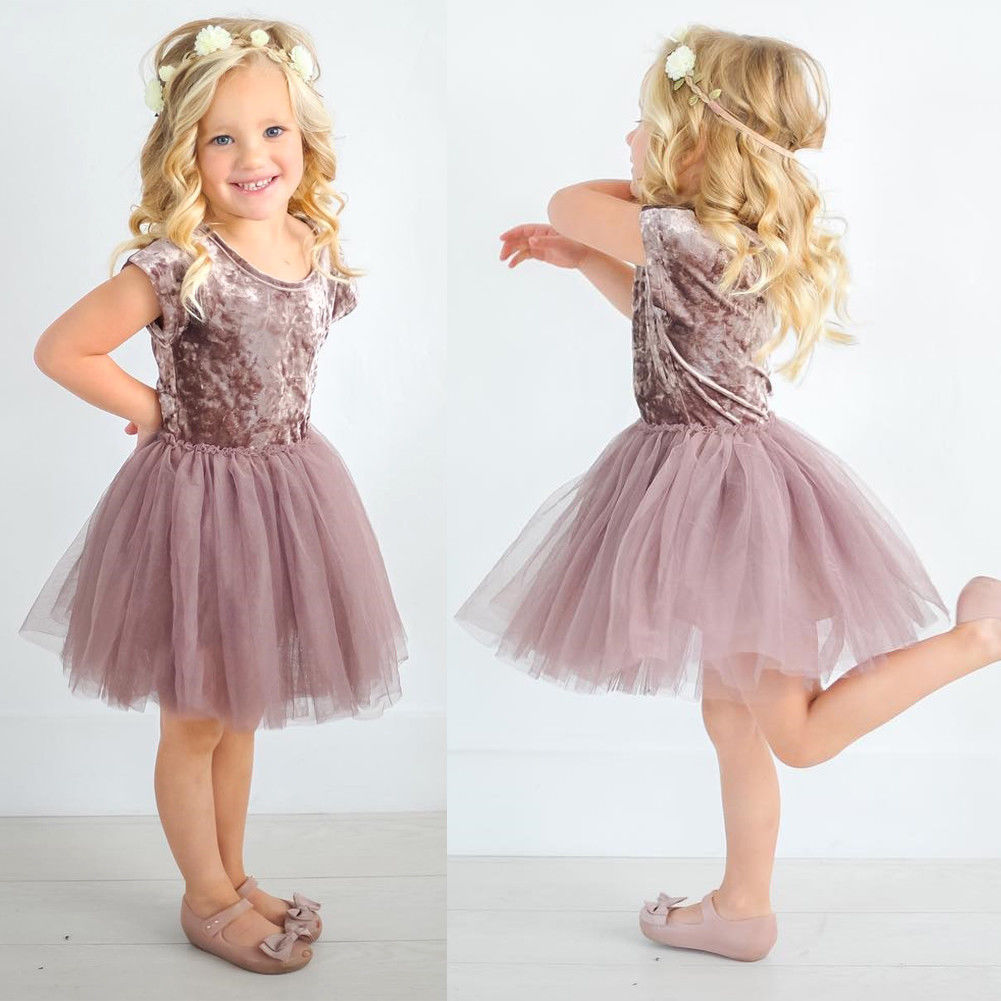 Pudcoco Girl Dress 6M-5Y UK Stock Toddler Kid Baby Girl Summer Velvet Party Pageant Tutu Lace Tulle Dress