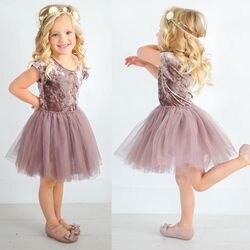 Vestido para meninas pudcoco, vestido de verão para meninas de 6 meses a 5 anos, vestido de renda tule para festa