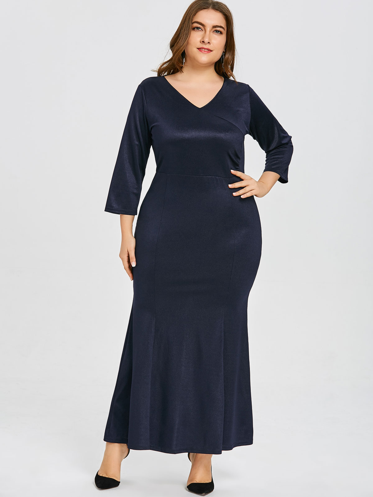 US $17.09 50% OFF|Wipalo Women Plus Size 6XL V Neck Mermaid Maxi Dress High  Waist Three Quarter Sleeves Solid Trumpet Party Dress Spring Vestidos-in ...