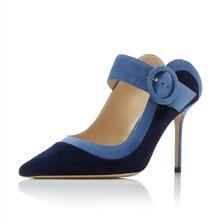 купить Women High Heels Shoes Buckle Strap Shoe Pumps Women Pointed Toe Thin Heels Shoe Denim Blue Pumps Shoes 2019 Summer New дешево