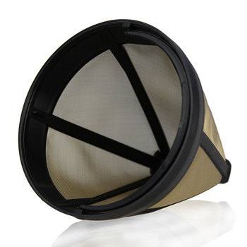 Washable Handle Coffee Filter Stainless Steel Reusable Coffee Filter Cone-Style Refillable Gold Mesh Cafe Maker Machine Tool Coffee Filters