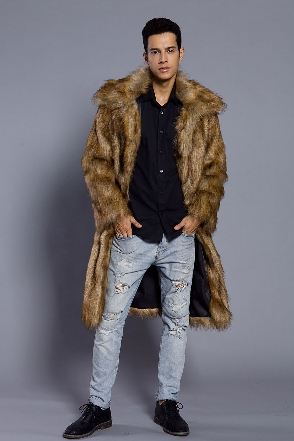 New Fashion European and American Winter Men Clothes Winter Trench Coat Man Square collar Faux Fur Long Overcoat