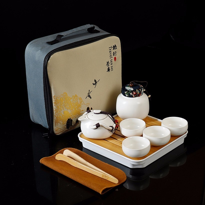 10pcs Kung Fu Tea Set,Chinese Travel Ceramic Portable Teaset Beautiful And Easy Teapot Kettle,Ceramic Tray Coffee Cup Tea Can