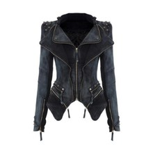 Women Denim Jackets new style 6XL Tops Autumn winter fashion Coat Rivets zipper For Women Clothing chaquetas mujer high quality