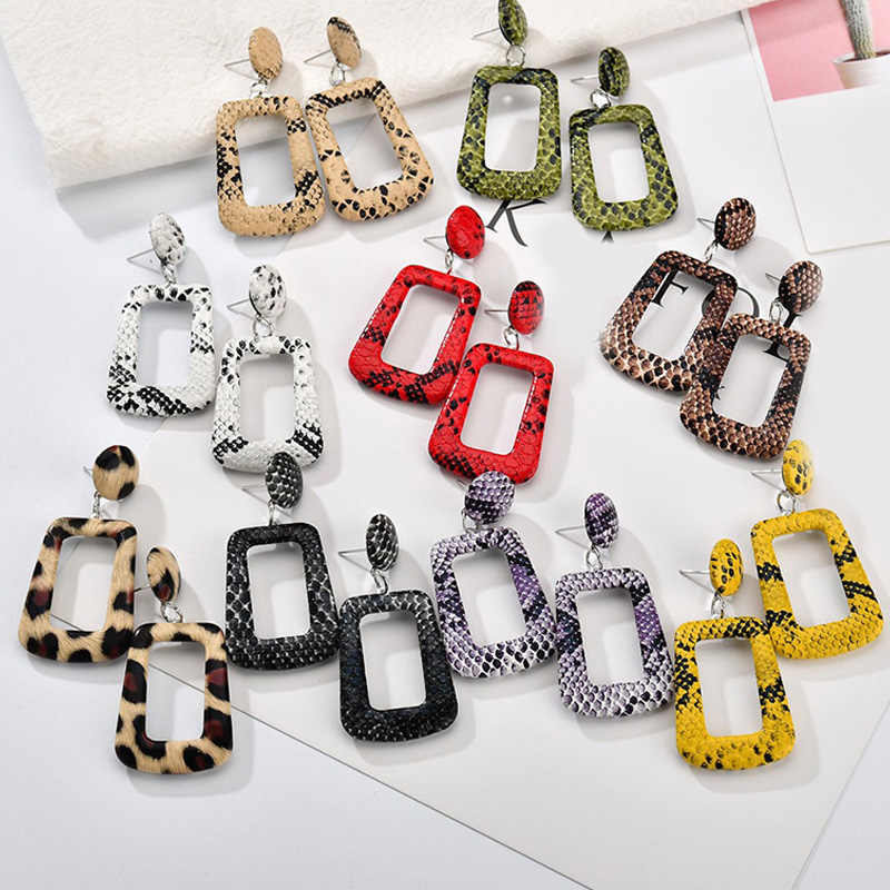 Hot New Snake Shell Geometric Leather Women Print Leopard Drop Earrings Jewelry