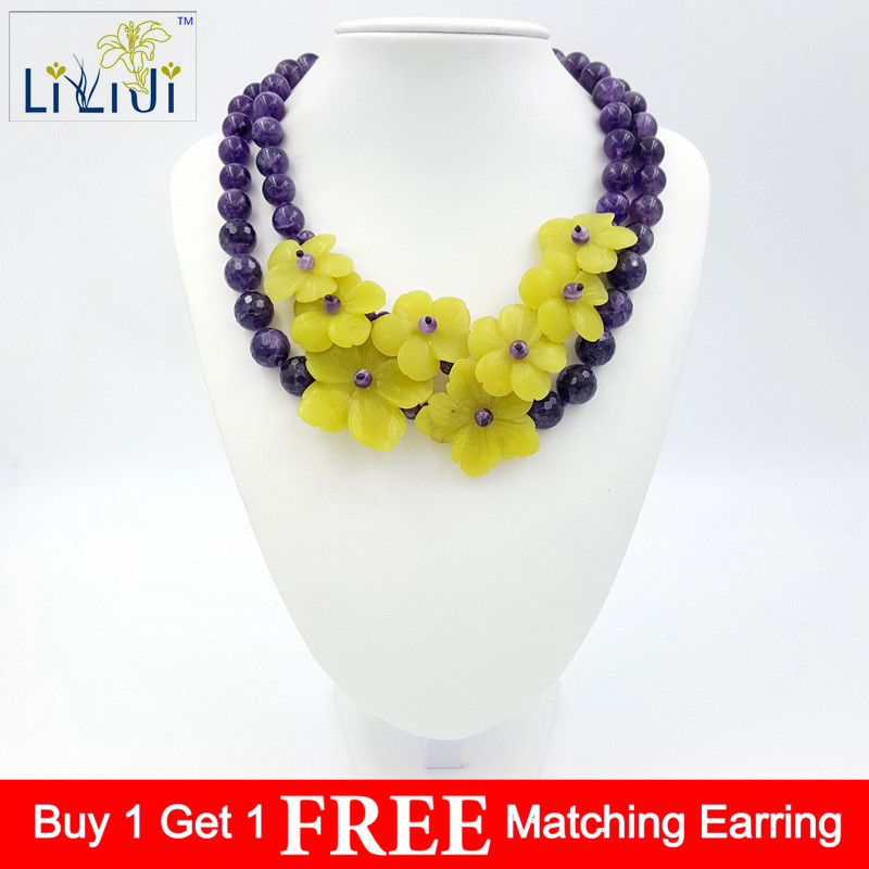 LiiJi Unique Natural Stone Amethysts, Korea jades Flowers with jades Toggle Clasp Necklace Fashion Women Jewelry цена