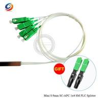 Hotsale 10pcs/lot Mini 0.9mm SC APC 1x4 SM PLC Splitter FTTH Fiber Optic 1x4 SC APC Steel Tube PLC Splitter
