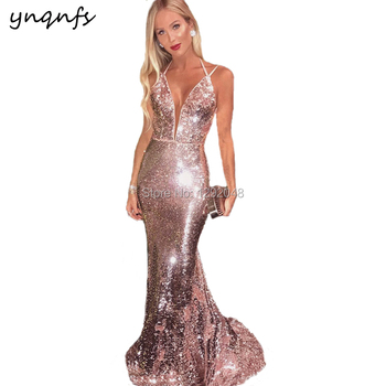 YNQNFS E24 Sexy Open Bust Pink Bling Sequin Gown Party Prom 2019 Mermaid Evening Dress Long
