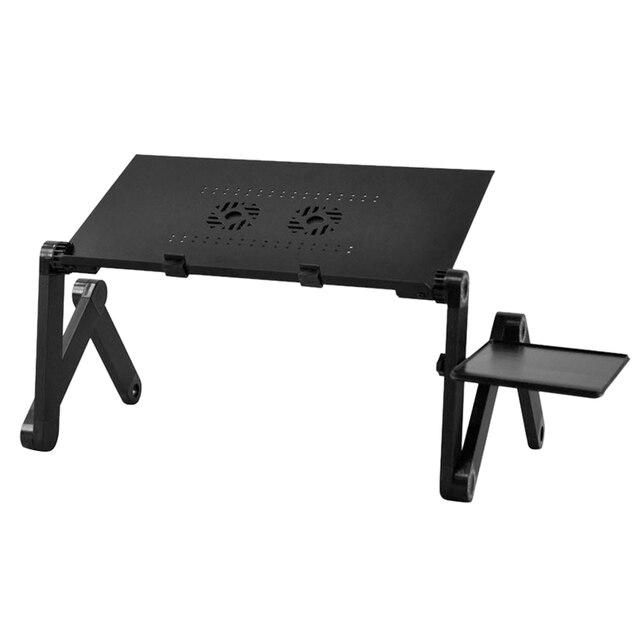 360 graus dobrável ajustável computador portátil notebook brilhante suporte de mesa cama volta sofá mesa bandeja & ventilador (preto)