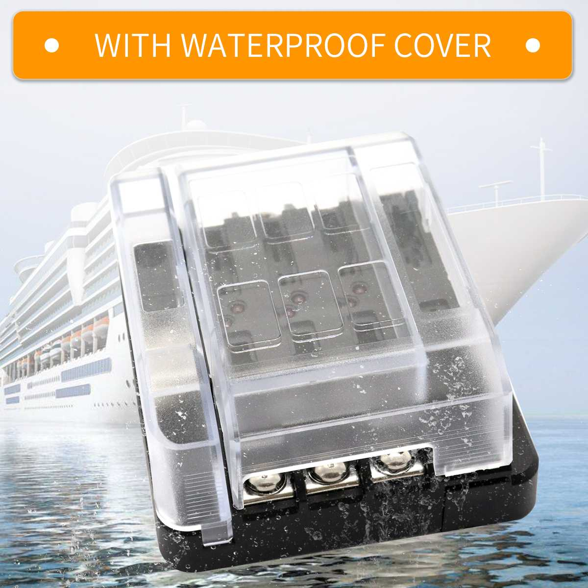 1set Waterproof Fuse Box Block Holder With 12p Negative