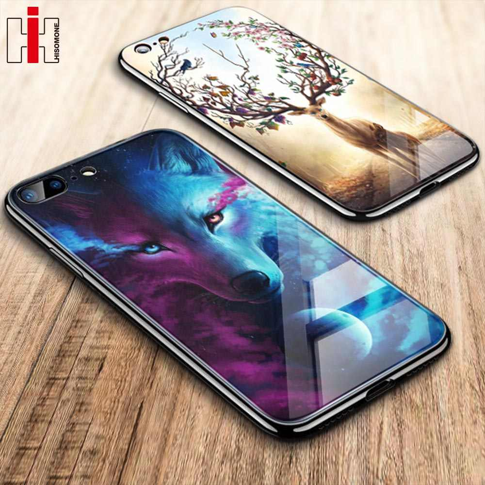 Hisomone Luxury Animal Cartoon Case For iPhone 7 6 6S 8 Plus Patterned Tempered Glass Case For iPhone X XS Max XS XR Cover Capa