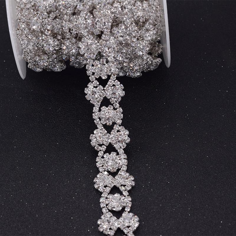 Guarnições para o Cinto do Vestido Vestido de Casamento Sash Apliques de Cristal Sew na Flor Costurar em em 5 Metros e lot Prata Strass de Casamento Sash Mulheres Roupas Diy Costurar em