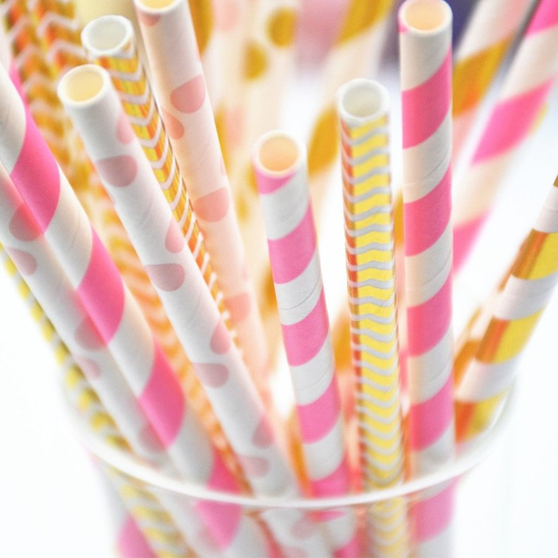 25pcs/lot Foil Gold/Silver Paper Straws For Kids Party Drinking 1 Set Mickey Minnie Cake Flags Event Supplies