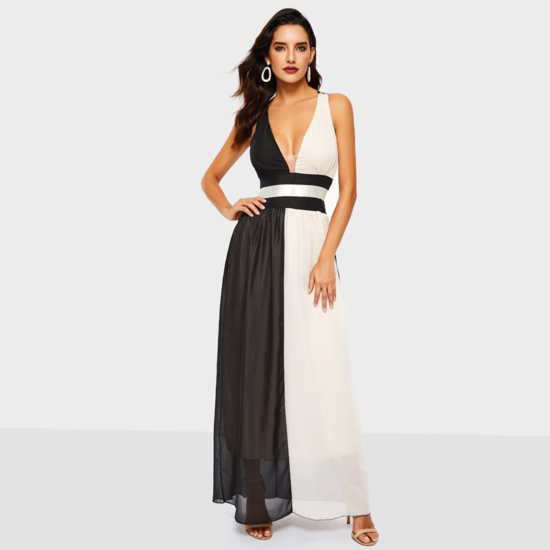 8a2639a5be964 Maxi Noir Sexy Robes Club Femmes Office Lady Maille 2019 Voyage ...