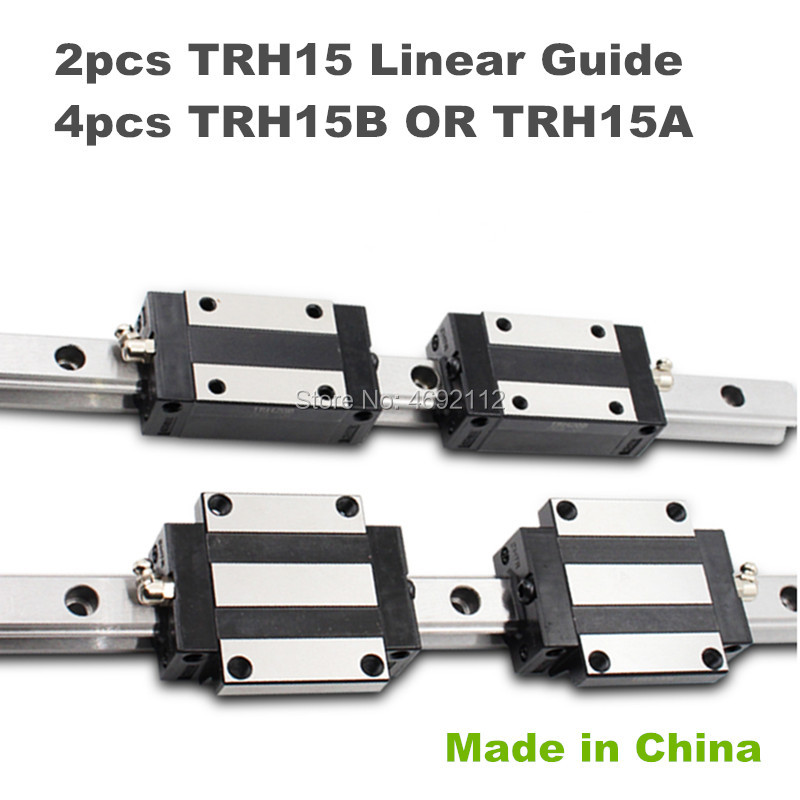 15mm width Precision Linear Guide Rail 2pcs TRH15 200 250 300mm Linear rail way +4pcs TRH15B or TRH15A Square linear carriage15mm width Precision Linear Guide Rail 2pcs TRH15 200 250 300mm Linear rail way +4pcs TRH15B or TRH15A Square linear carriage