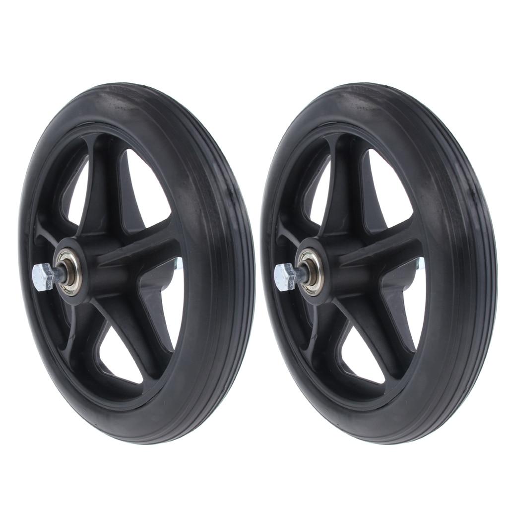 2pcs Wheelchair Front Castor Wheels Replacement Part Black 7 Inch 5/16 Bearing 5 Spoke