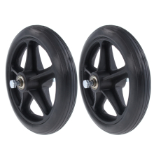 2pcs Wheelchair Front Castor Wheels Replacement Part Black 7 Inch 5/16 Bearing 5 Spoke
