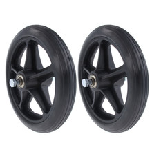 2pcs Wheelchair Front Castor Wheels Replacement Part Black 7 Inch 5/16 Bearing 5 Spoke(China)