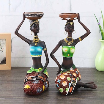 1 زوج المنزل الديكور المرأة الأفريقية تماثل صمغي شمعدان الحرفية تمثال عشاء الزفاف هدية ديكور المنزل النحت هدية