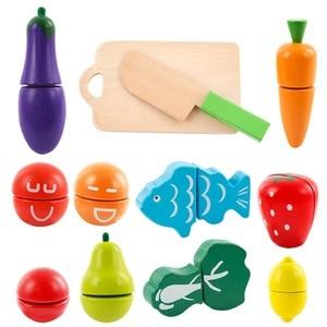 Image 2 - フルーツと野菜プレイ食品ふり切断食品おもちゃ 教育プレイセット玩具ナイフ、まな板