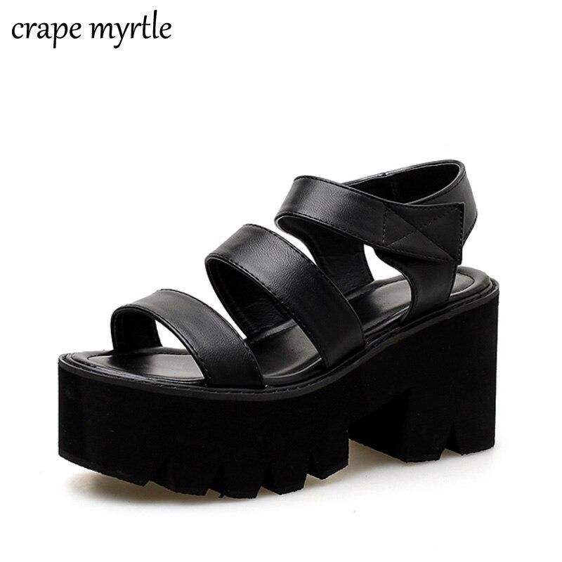 Platform shoes gladiator sandals women summer shoes ankle strap heels black heel sandals women womens strappy heels YMA705