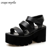 Купить с кэшбэком platform shoes gladiator sandals women summer shoes ankle strap heels black heel sandals women womens strappy heels YMA705