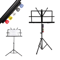 Folding Music Sheet Stand with Guitar Pick Holder 1 pcs Alice Guitar Bass Picks Clip and Adjustable Music tripod Stand with Bag