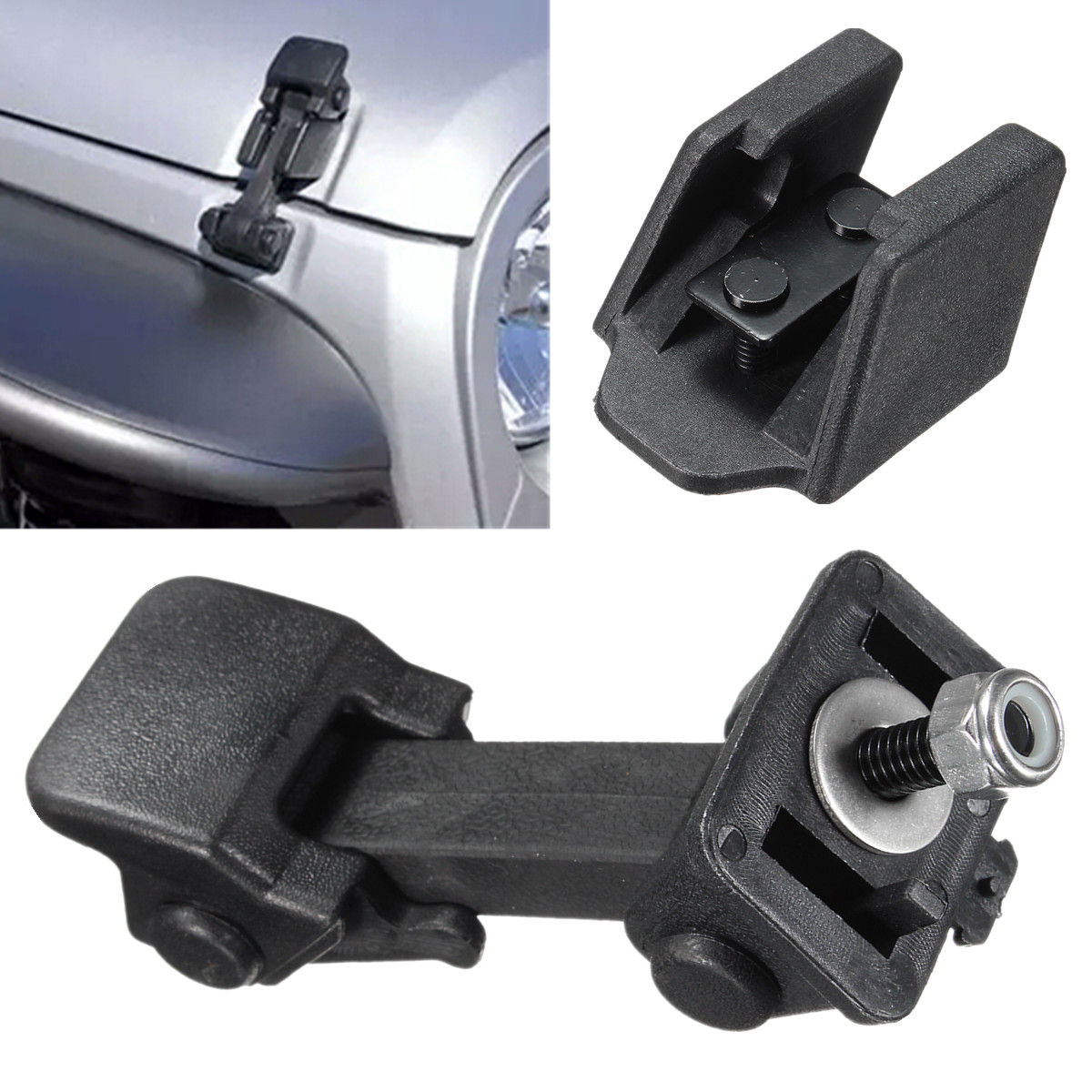 1 Pair Replacement Hood Catch & Bracket Latch Buckle For Jeep-wrangler 2007-2016 Black Abs Auto Engines & Components