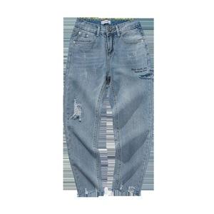 Image 4 - 2020 Korean Style Mens Restore Holes Casual Pants Tide Baggy Homme Classic Wash Jeans Light Blue Color Biker Denim Trousers