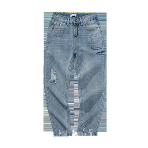 Image 4 - 2020 koreański styl męska przywrócić otwory dorywczo spodnie fala Baggy Homme klasyczne mycia dżinsy jasnoniebieski kolor Biker Denim