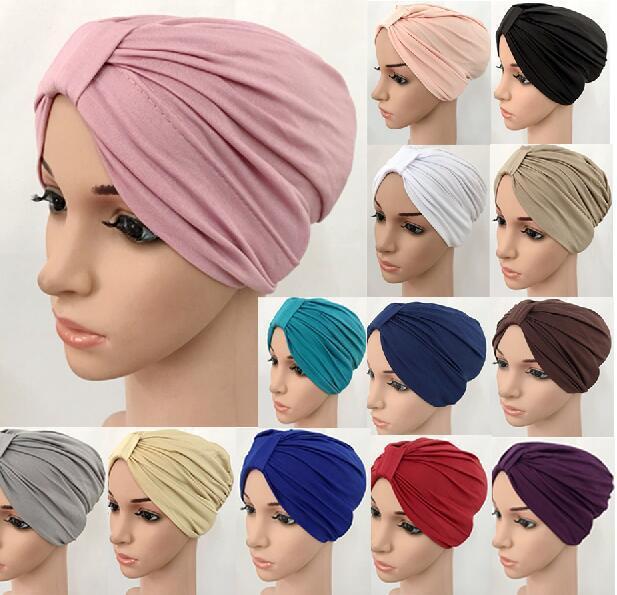 הודי כובע מוסלמי נשים רך כובע פנימי ערבי קפלים שיער אובדן כובע טורבן Headwear סרטן כימותרפיה כובע אופנה אסלאמי בימס