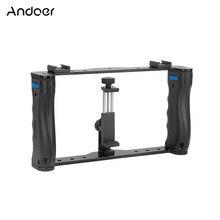 Andoer profesyonel çift el Smartphone fotoğraf braketi tutucu kafes Rig DIY telefon Video sabitleyici ile telefon kelepçe