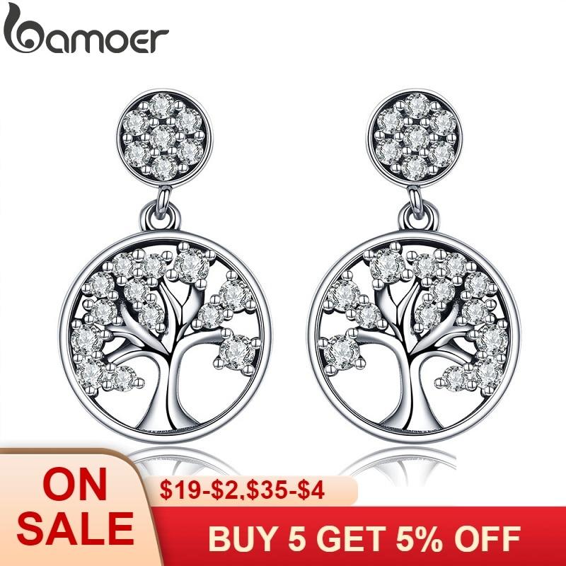 BAMOER 100% genuino Plata de Ley 925 Plata plata Árbol de la vida AAA Zircon pendientes para las mujeres de la joyería de la plata esterlina Brincos SCE067