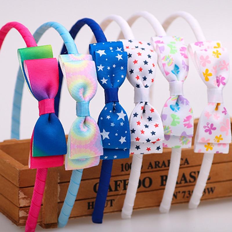 Kids Hair Hoop Band Double Bow Hairband Headband For Girls   Headwear   Hair Accessory Ribbon Flaming Flag Leopard Print Hairs Bands