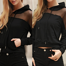 Autumn New Sheer Shirts For Women Long Sleeve  Pocket Mesh Sexy Black Punk Top