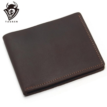 TAUREN Crazy Horse Leather Mens Card&ID Holders Cross Style Genuine Wallet New Put Cards Porte Carte