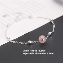 Real. 925 Sterling Silver Jewelry Pink Crystal Chain Bracelet Adjustable Charm Sterling-silver For Girls Woman eleshe 925 sterling silver infinity bracelet pulseras jewelry with austrian crystal adjustable chain charm bracelet wedding gift