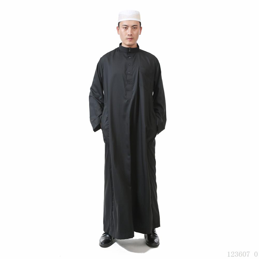 2019 Fashion Man Jubba Thobe Muslim Traditional Costumes Gown Robe Solid Button Turkish Kaftan Islamic Ramadan Clothing
