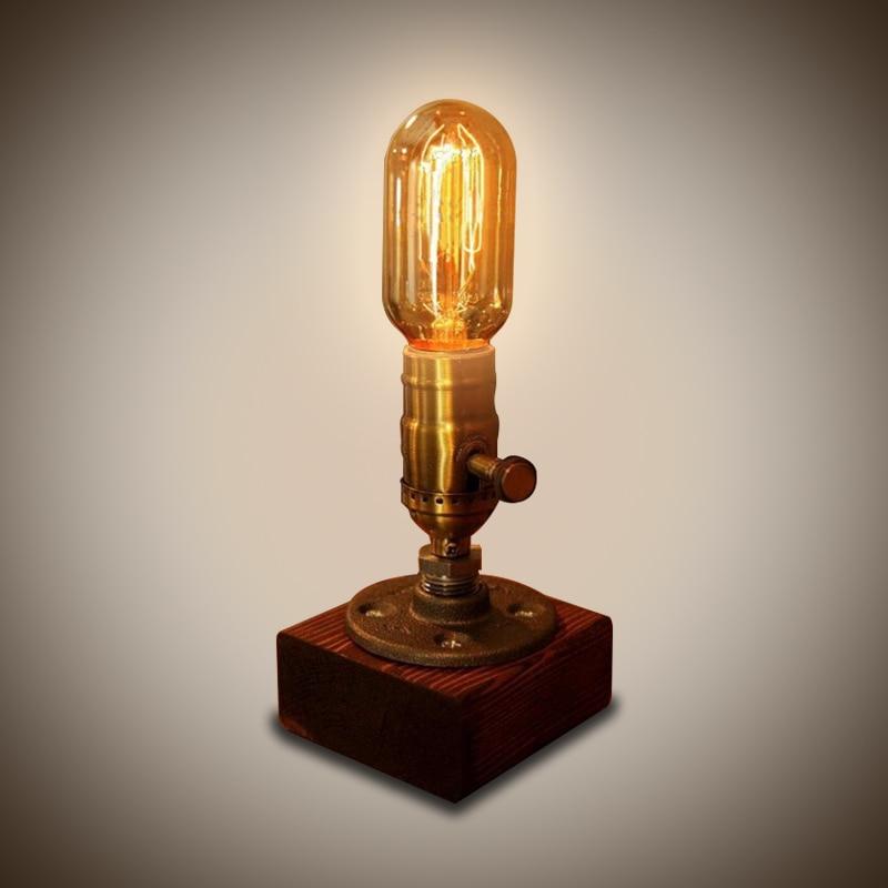 Klasická Retro Kavárna Stolní lampa Dřevo Vintage Stolní lampa Stmívatelná 40W Edison Žárovka 220V Stolní barový stůl Lehký dřevěný