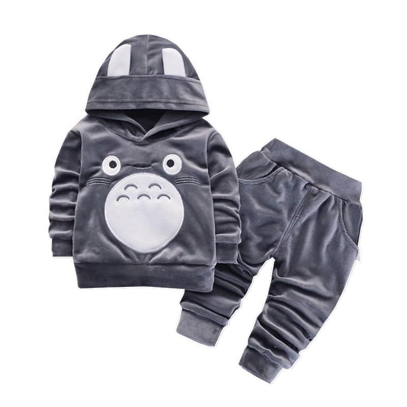 Fashion Children Boys Girls Cartoon Clothing Suits Baby Velvet Hoodies Pants 2Pcs/Sets Spring Autumn Toddler Cotton Tracksuits