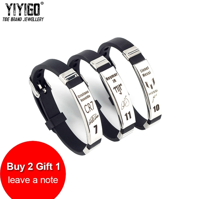 /Buy 2 Get 1 Free/ 1piece Sport Men Bracelet Messi Ronaldo Nermar Silicone Bangl