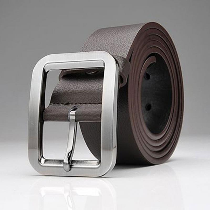 Men Artifical Leather Belt Men Belt Fashion Luxury Strap Male Wait Band Waistband Retro Buckle Belt  Black White Brown Belt #20