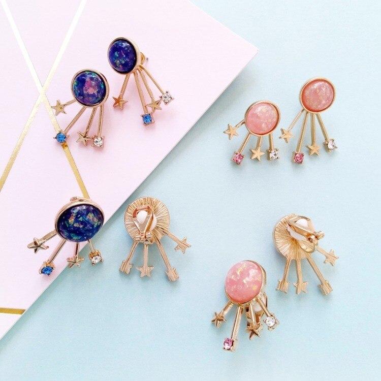 New Fashion 2 Color Starry Sky Earrings Star Semi-precious Stone Clip Earrings Women Gifts Party Earrings