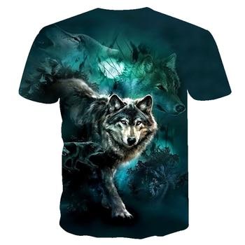 2019 Men's New Summer Personalized T-Shirt Wolf Print T-Shirt 3D Men's T-Shirt Novelty Animal Tops T-Shirt Men's Short Sleeve 1